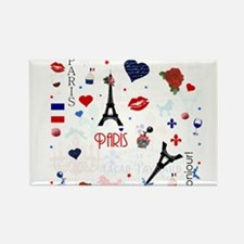 Paris pattern with Eiffel Tower Rectangle Magnet