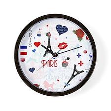 Paris pattern with Eiffel Tower Wall Clock