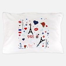 Paris pattern with Eiffel Tower Pillow Case