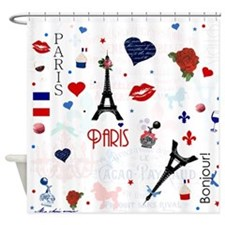 Paris pattern with Eiffel Tower Shower Curtain