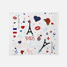Paris pattern with Eiffel Tower Throw Blanket