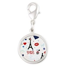 Paris pattern with Eiffel Tower Charms