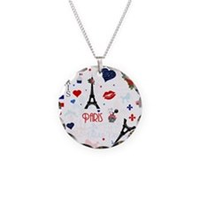 Paris pattern with Eiffel Tower Necklace