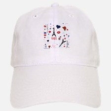 Paris pattern with Eiffel Tower Baseball Baseball Cap
