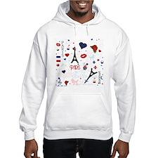 Paris pattern with Eiffel Tower Jumper Hoody