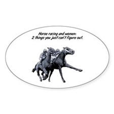 Horse racing and women. Rectangle Decal