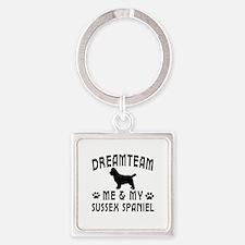 Sussex Spaniel Dog Designs Square Keychain