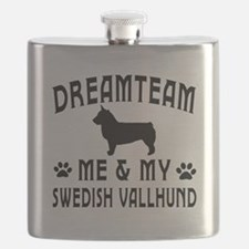 Swedish Vallhund Dog Designs Flask