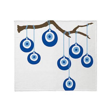 Blue Eye Amulets On Branch Throw Blanket