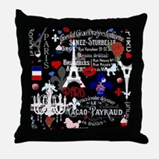 Paris pattern with Eiffel Tower Throw Pillow
