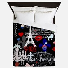 Paris pattern with Eiffel Tower Queen Duvet