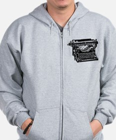 Old Fashioned Typewriter Zip Hoodie
