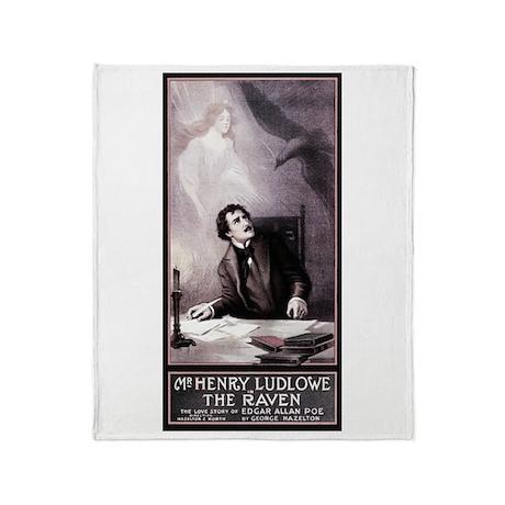 Poe Vintage Raven Throw Blanket