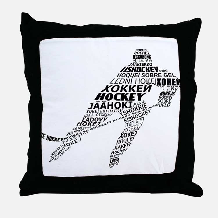 Hockey Languages Typography Throw Pillow