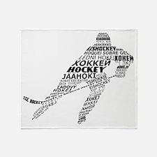 Hockey Languages Typography Throw Blanket