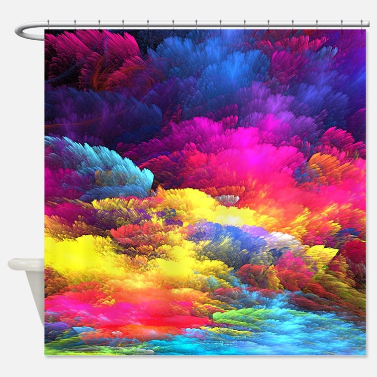 Bright Colors Crazy Art Shower Curtains Bright Colors Crazy Art Fabric Shower Curtain Liner