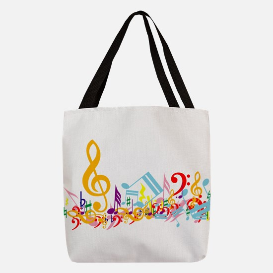 Colorful Musical Notes Polyester Tote Bag