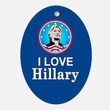 I Love Hillary Oval Ornament