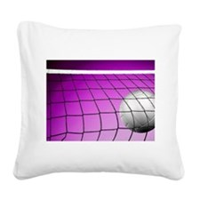 Purple Volleyball Net Square Canvas Pillow