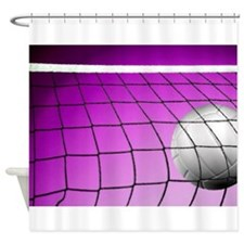 Purple Volleyball Net Shower Curtain