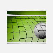 Green Volleyball Net Throw Blanket