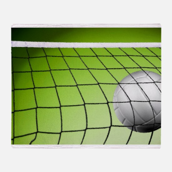 Green Volleyball Net Throw Blanket