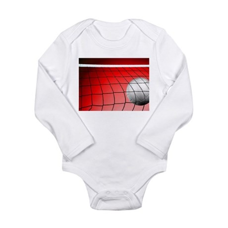 Red Volleyball Net Long Sleeve Infant Bodysuit