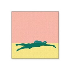 "PAINTED GREEN SWIMMER Square Sticker 3"" x 3"""