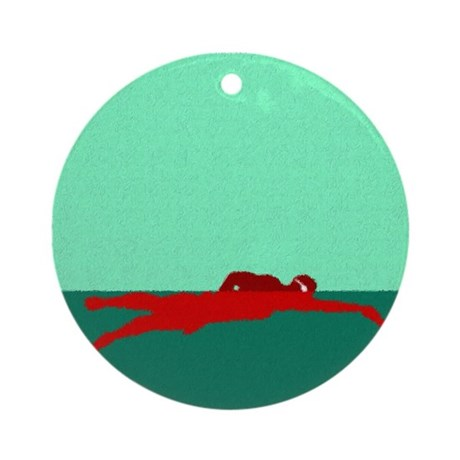 PAINTED RED SWIMMER Ornament (Round)