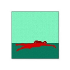 "PAINTED RED SWIMMER Square Sticker 3"" x 3"""