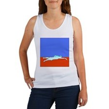 WAX WHITE ON RED SWIMMER Women's Tank Top