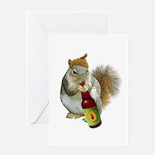 Squirrel Acorn Beer Greeting Card