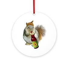 Squirrel Acorn Beer Ornament (Round)