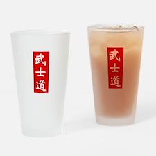 Samurai Bushido Kanji Red Drinking Glass
