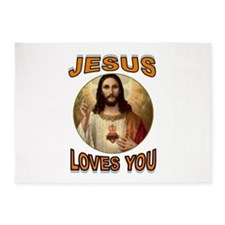 JESUS LOVES YOU 5'x7'Area Rug
