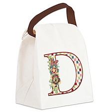 Monogram Letter D Canvas Lunch Bag