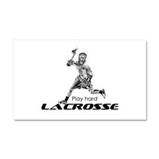 Play Hard LACROSSE Black and White Car Magnet 20 x