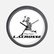 Play Hard LACROSSE Black and White Wall Clock