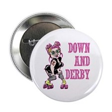 "Down and Derby pink 2.25"" Button"