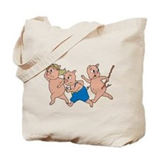 Three Little Pigs Running Tote Bag