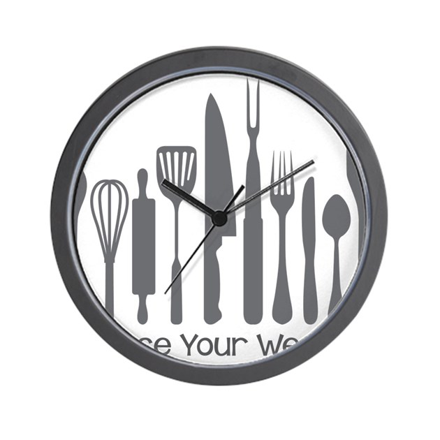 Choose Your Weapon Wall Clock by IStillLiveWithMyParentsFUNNY