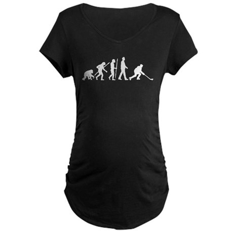 evolution of man hockey player Maternity T-Shirt