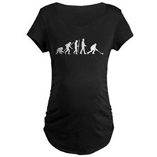 evolution of man hockey player Maternity T-Shirt