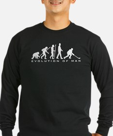 evolution of man hockey player Long Sleeve T-Shirt