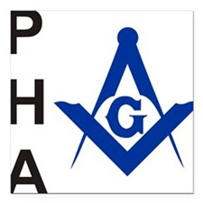 """Prince Hall No 4 white.png Square Car Magnet 3"""" x"""