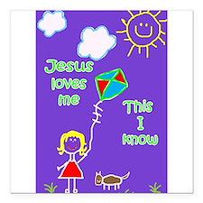 "Jesus Loves Me Square Car Magnet 3"" x 3"""