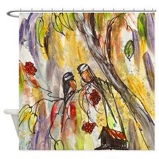 Modern Love Birds Shower Curtain