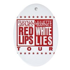 Red Lips White Lies Ornament (Oval)