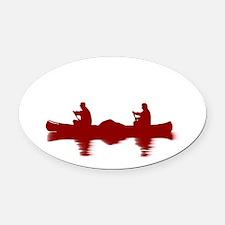RED CANOE Oval Car Magnet
