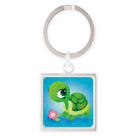 Toshi the Turtle Square Keychain